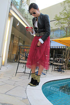 magenta Momo International skirt - black Versace for H&M jacket