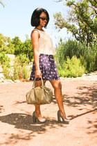 navy thrifted skirt - tan You Like It I Made It shirt - camel Mia heels