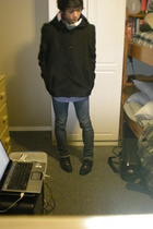 H&M coat - Aeropostale shirt - Brody jeans - thrifted shoes