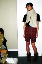 scarf - Gap shirt - H&M belt - vintage shorts - boots - Urban Outfitters glasses