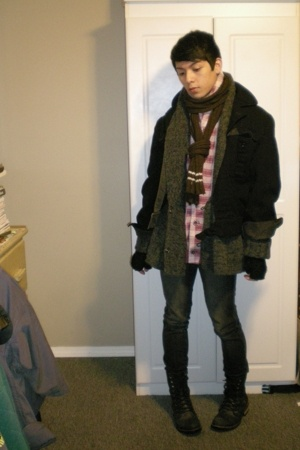 thrifted scarf - H&M sweater - vintage jacket - Urban Outfitters gloves - BDG ur