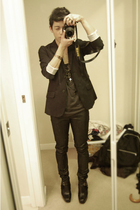 black Gap blazer - black H&M jeans - black Gap top - black sam edelman boots