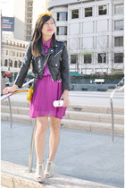 black Nasty Gal jacket - magenta Charlotte Russe dress - yellow unknown purse