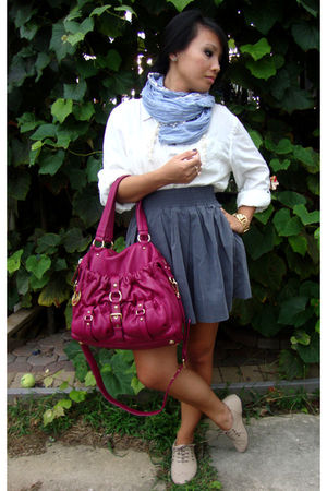 pink Michael Kors bag - blue Charlotte Russe scarf - white Charlotte Russe shirt