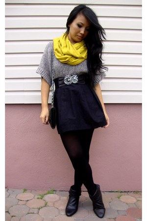 mustard Forever 21 scarf - heather gray Charlotte Russe top - black H&M skirt -