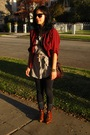 Red-forever-21-shirt-gray-forever-21-shirt-brown-vintage-from-wasteland-boot