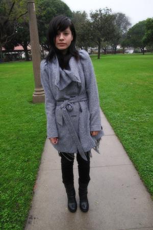 gray coat - black boots