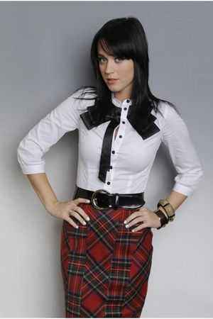 black belt - white blouse - red skirt - gold accessories