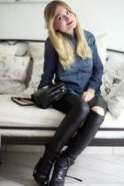 acne boots - denim shirt H&M shirt - vintage bag - faux leather H&M pants