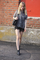 black Ebay shorts - black H&M boots - charcoal gray Vila blouse