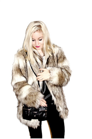 black Theyskens Theory bag - beige faux fur H&M jacket