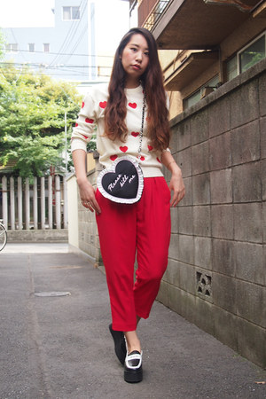 red red chiffon GVGV pants - ivory hearts pattern Kaon sweater