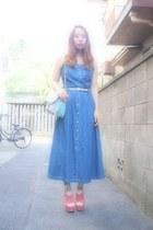 blue denim dress Laura Ashley dress - light pink pastels purse nomine bag