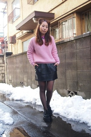 black leather skirt cheeky skirt - bubble gum Topshop sweater