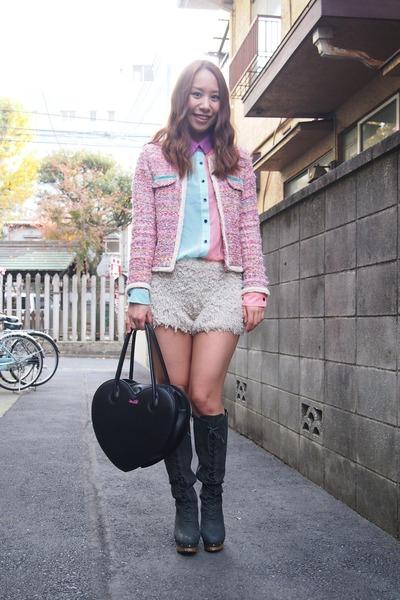 bubble gum tweedy jacket Velnica jacket - light blue Nasty Gal shirt
