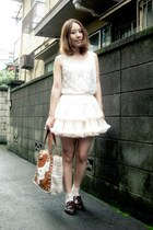 light pink American Apparel skirt - brown nadesico bag
