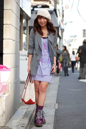 heather gray long jacket INPAICHTHYS KERRI blazer - amethyst catie boots