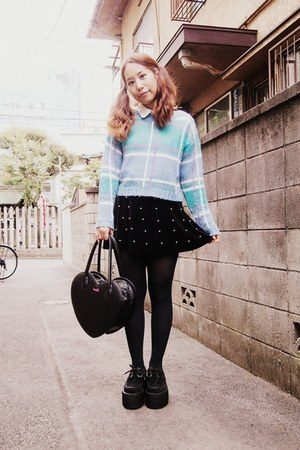 black heart bag Milk bag - turquoise blue phebely sweater