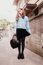 Turquoise-blue-phebely-sweater-black-heart-bag-milk-bag