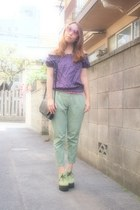 deep purple dotted blouse haricot rouge blouse - aquamarine pants GU pants