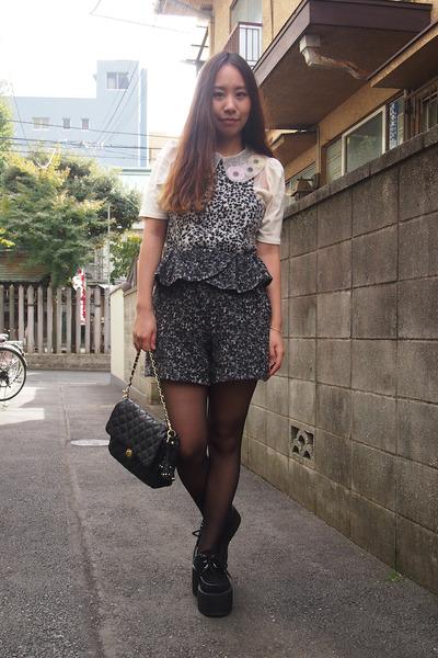 ivory sretsis blouse - black quilting purse Beams bag