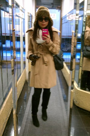 NY&CO coat - banana republic boots - Urban Outfitters hat - American Eagle scarf