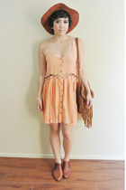 vintage boots - Blessed Are The Meek dress - vintage hat - Urban Outfitters bag