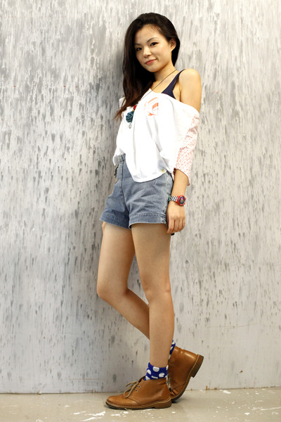 white Insight t-shirt - blue Topshop vest - blue 18th Amendment shorts - brown C