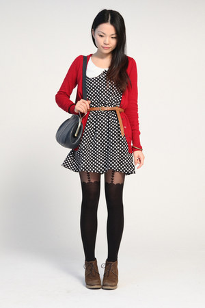 red Bershka cardigan - dark brown jipijapa shoes - black unknown brand dress