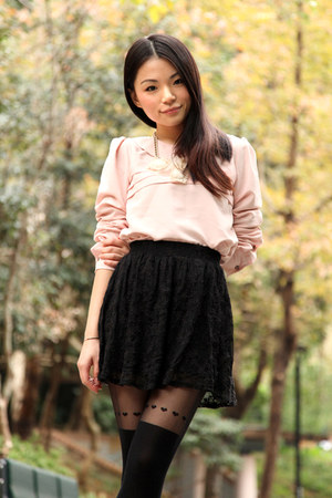 light pink v love u blouse - gray korean brand coat - black Topshop tights