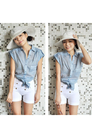 blue Zara top - white Zara shorts