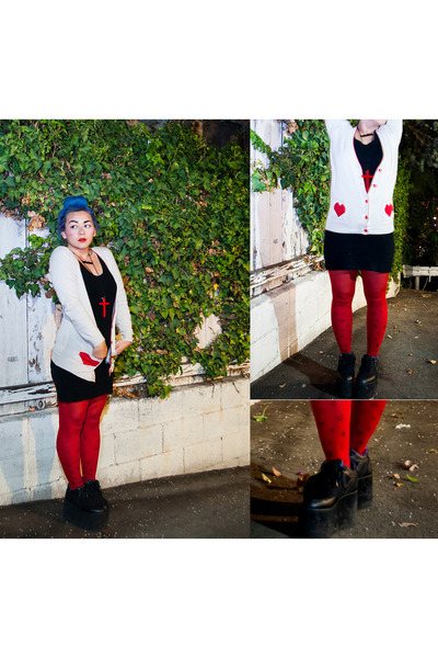 black sweater dress H&amp;M dress - ruby red Forever21 tights