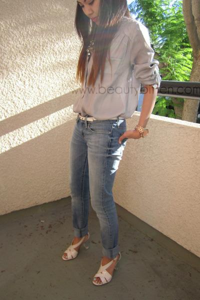 talbots heels - slightly curve Levis jeans - white studded JCrew belt