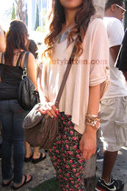 floral printed leggings - taupe Zara bag - rose gold Michael Kors watch