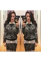 black leopard Topshop sweater - black bodycon floral Topshop skirt