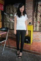white lace Mode-5 blouse - black Zara jeans