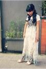 Teal-floral-maxi-korean-brand-dress-white-studded-oasap-bag