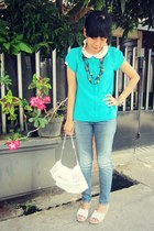 studded OASAP bag - aquamarine Ringbells blouse