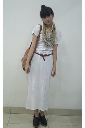 cotton NIKICIO shirt - Cotton Ink scarf - leather bag Topshop bag - belle clogs