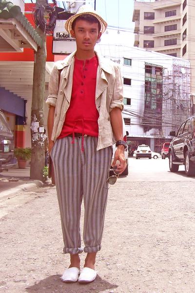 red liz claiborne shirt - beige jacket - gray Yves Identify pants - white Fushu