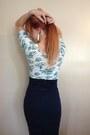 Navy-pencil-thrifted-skirt-floral-rue21-shirt