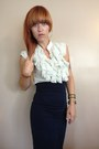 Navy-pencil-salvation-army-skirt-ivory-ruffled-miley-maxx-top
