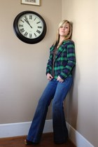 green plaid jacket - blue Old Navy jeans - brown New York & Company blouse