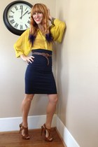 navy pencil thrifted skirt - mustard thrifted blouse - bronze Pierre Dumas heels