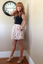 light pink feather Salvation Army skirt - black basic t-shirt