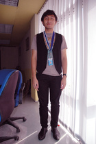 MiniMe vest - Black or Love pants - FOS t-shirt - Zara shoes