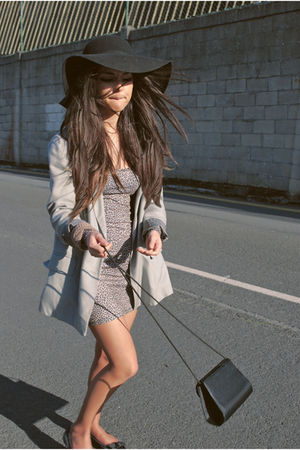 silver BLANCO jacket - brown Primark dress - black vintage bag