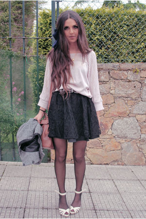 black H&M skirt - pink pull&bear cardigan - beige old shoes