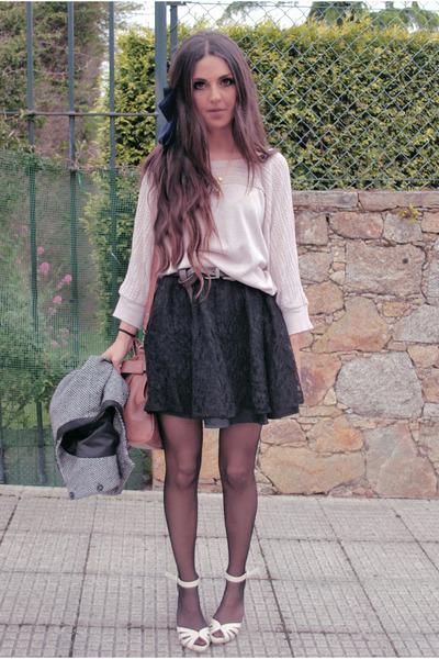 black H&M skirt - pink pull&bear cardigan - beige old shoes