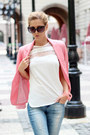 Salmon-blazer-sky-blue-jeans-black-sunglasses-white-sheinside-blouse